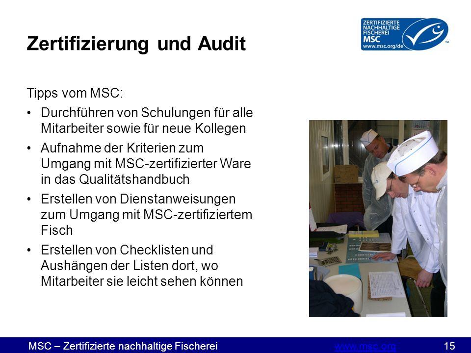 MSC – Zertifizierte nachhaltige Fischereiwww.msc.org 15www.msc.org Tipps vom MSC: Durchführen von Schulungen für alle Mitarbeiter sowie für neue Kollegen Aufnahme der Kriterien zum Umgang mit MSC-zertifizierter Ware in das Qualitätshandbuch Erstellen von Dienstanweisungen zum Umgang mit MSC-zertifiziertem Fisch Erstellen von Checklisten und Aushängen der Listen dort, wo Mitarbeiter sie leicht sehen können Zertifizierung und Audit