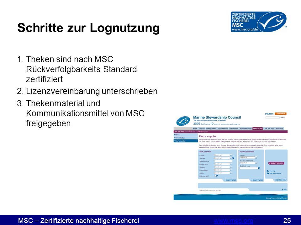 MSC – Zertifizierte nachhaltige Fischereiwww.msc.org 25www.msc.org Schritte zur Lognutzung 1.Theken sind nach MSC Rückverfolgbarkeits-Standard zertifiziert 2.Lizenzvereinbarung unterschrieben 3.Thekenmaterial und Kommunikationsmittel von MSC freigegeben