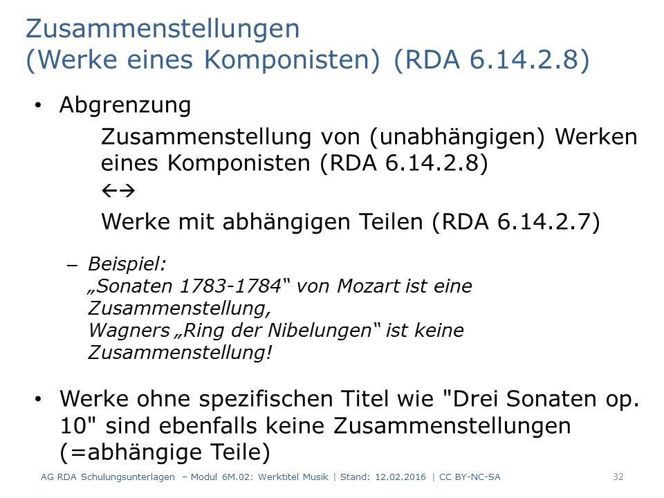 """Abgrenzung Zusammenstellung von (unabhängigen) Werken eines Komponisten (RDA 6.14.2.8)  Werke mit abhängigen Teilen (RDA 6.14.2.7) – Beispiel: """"Sona"""