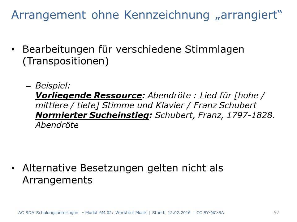 """Arrangement ohne Kennzeichnung """"arrangiert"""" Bearbeitungen für verschiedene Stimmlagen (Transpositionen) – Beispiel: Vorliegende Ressource: Abendröte :"""