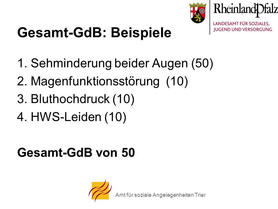 Amt für soziale Angelegenheiten Trier Gesamt-GdB: Beispiele 1.