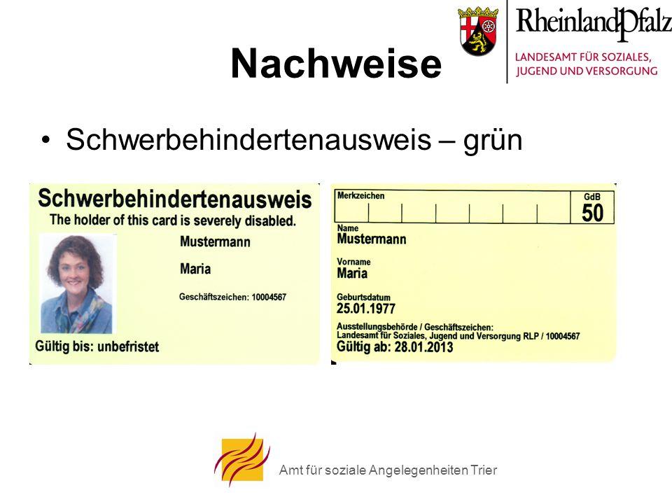 Amt für soziale Angelegenheiten Trier Nachweise Schwerbehindertenausweis – grün