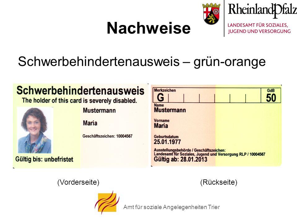 Amt für soziale Angelegenheiten Trier Nachweise Schwerbehindertenausweis – grün-orange (Vorderseite)(Rückseite)