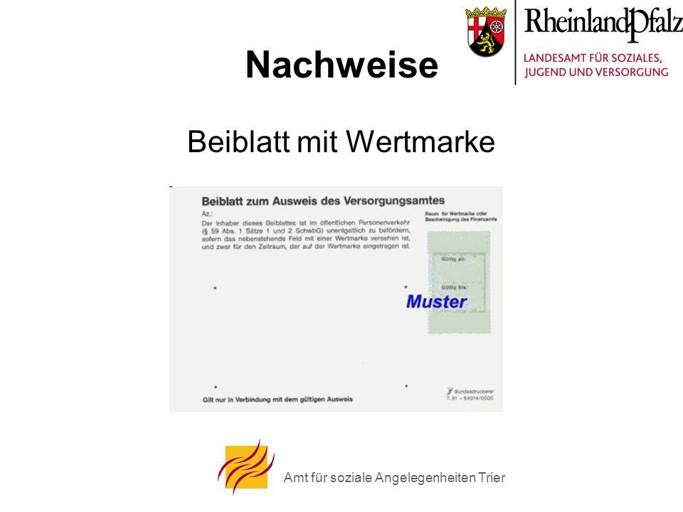 Amt für soziale Angelegenheiten Trier Nachweise Beiblatt mit Wertmarke