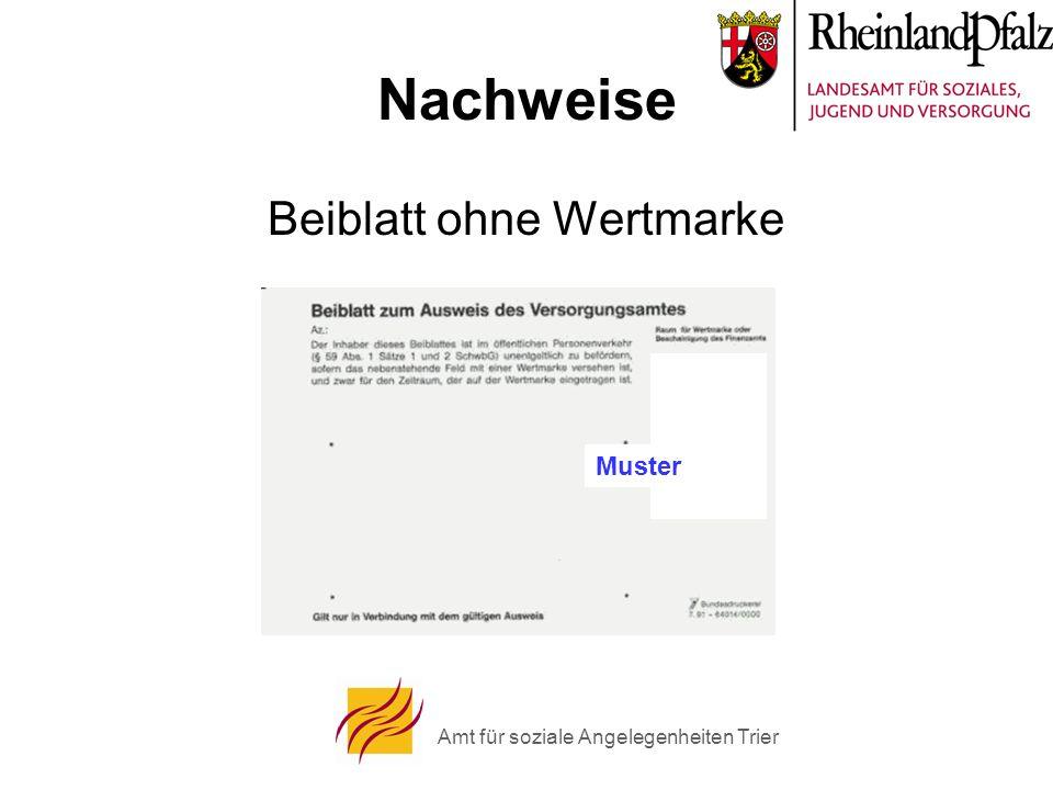 Amt für soziale Angelegenheiten Trier Nachweise Beiblatt ohne Wertmarke Muster