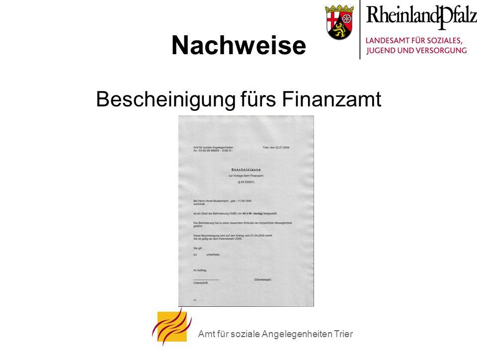 Amt für soziale Angelegenheiten Trier Nachweise Bescheinigung fürs Finanzamt