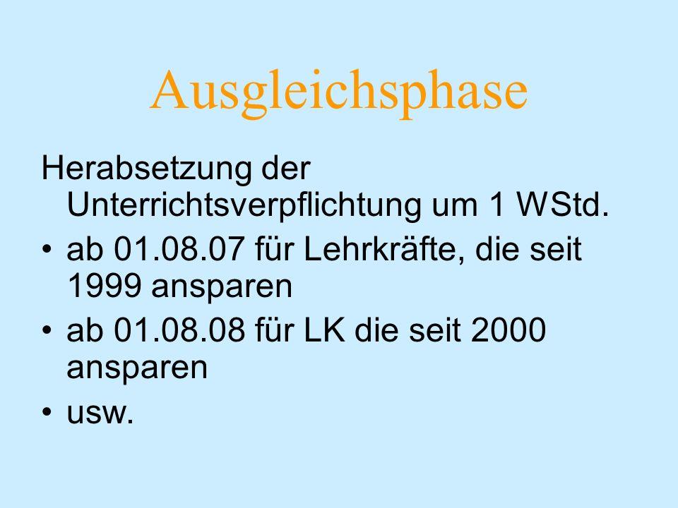 Ausgleichsphase Herabsetzung der Unterrichtsverpflichtung um 1 WStd.