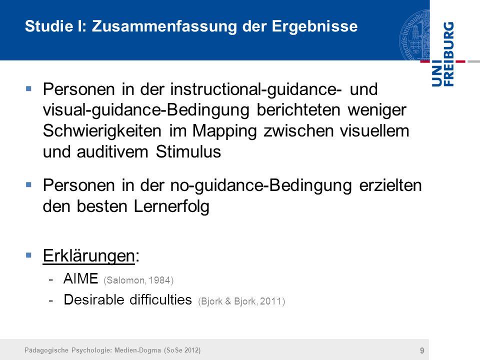 Studie I: Zusammenfassung der Ergebnisse  Personen in der instructional-guidance- und visual-guidance-Bedingung berichteten weniger Schwierigkeiten i