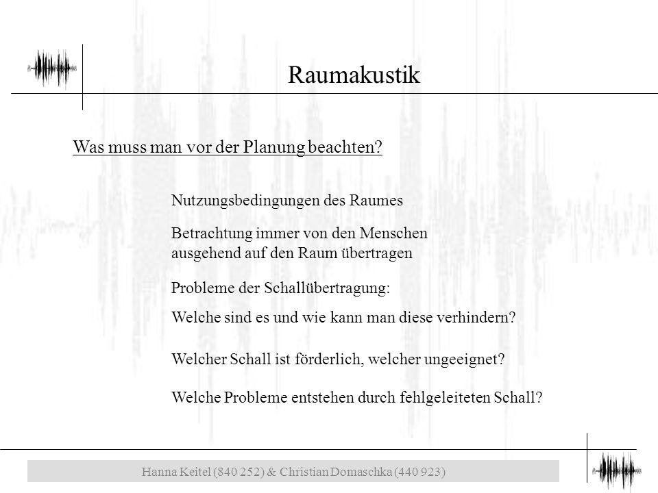Hanna Keitel (840 252) & Christian Domaschka (440 923) Raumakustik Was muss man vor der Planung beachten.
