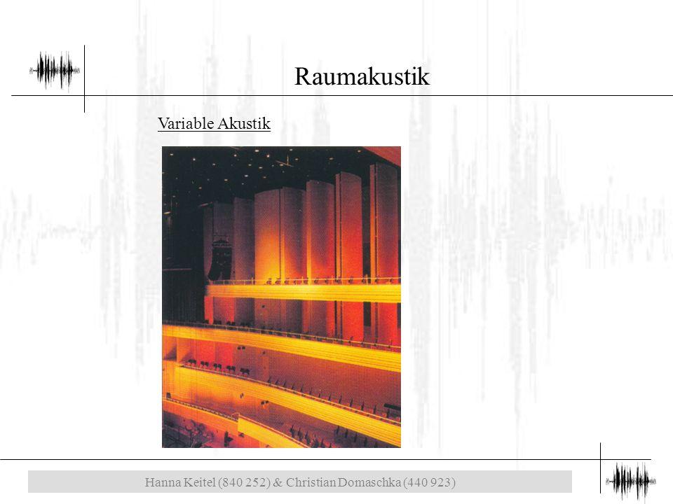 Hanna Keitel (840 252) & Christian Domaschka (440 923) Raumakustik Variable Akustik