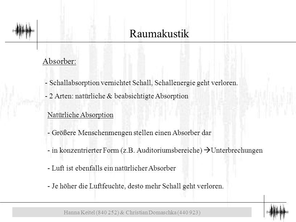 Hanna Keitel (840 252) & Christian Domaschka (440 923) Raumakustik Absorber: - Schallabsorption vernichtet Schall, Schallenergie geht verloren.