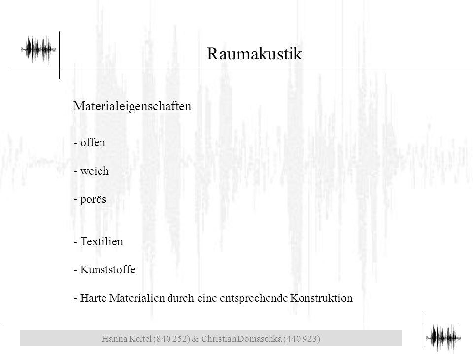 Hanna Keitel (840 252) & Christian Domaschka (440 923) Raumakustik Materialeigenschaften - offen - weich - porös - Textilien - Kunststoffe - Harte Materialien durch eine entsprechende Konstruktion