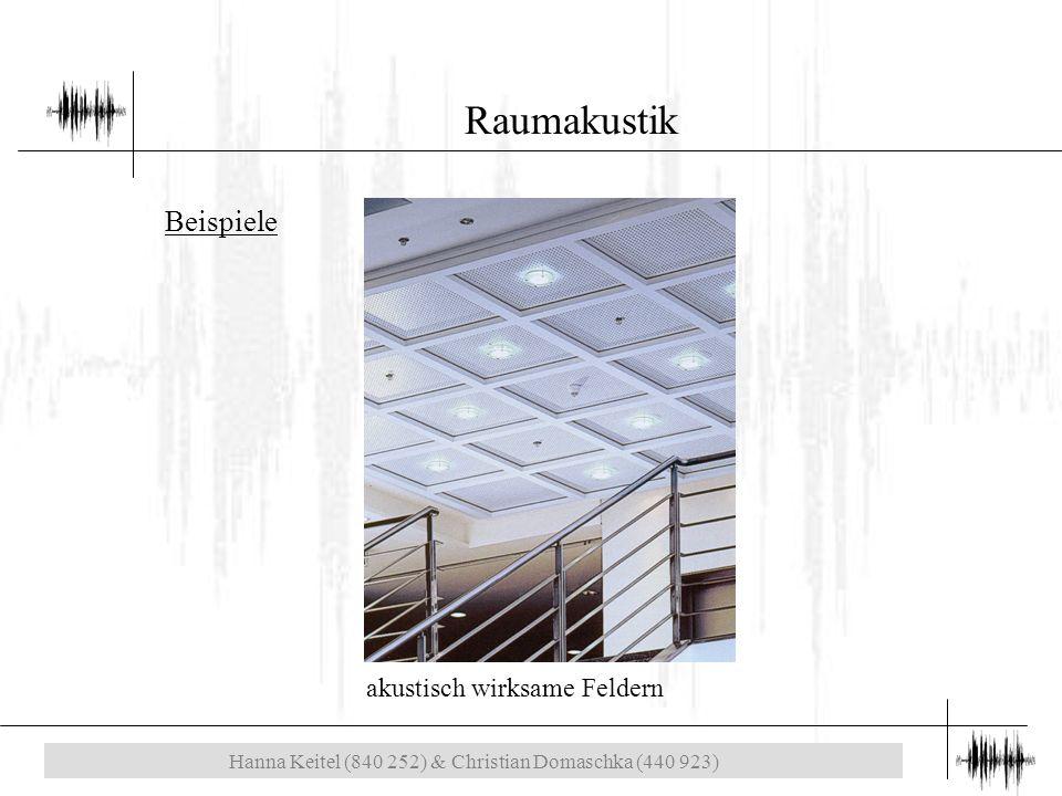 Hanna Keitel (840 252) & Christian Domaschka (440 923) Raumakustik akustisch wirksame Feldern Beispiele