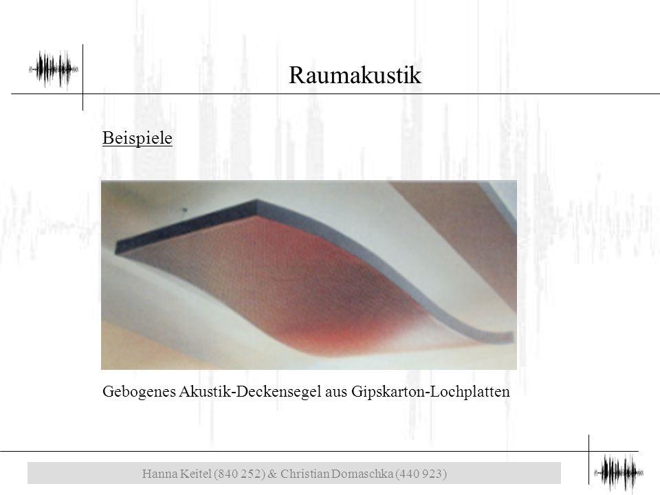 Hanna Keitel (840 252) & Christian Domaschka (440 923) Raumakustik Gebogenes Akustik-Deckensegel aus Gipskarton-Lochplatten Beispiele