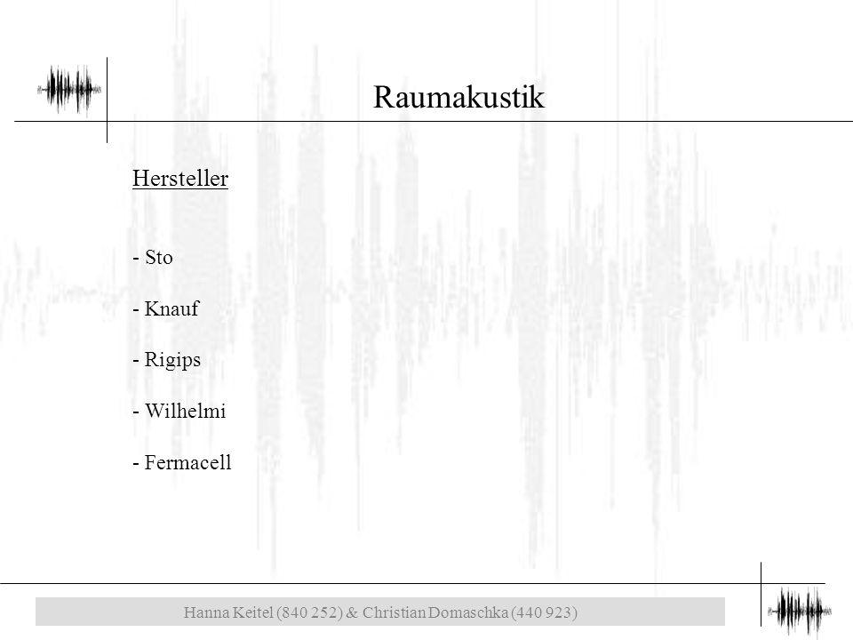 Hanna Keitel (840 252) & Christian Domaschka (440 923) Raumakustik Hersteller - Sto - Knauf - Rigips - Wilhelmi - Fermacell