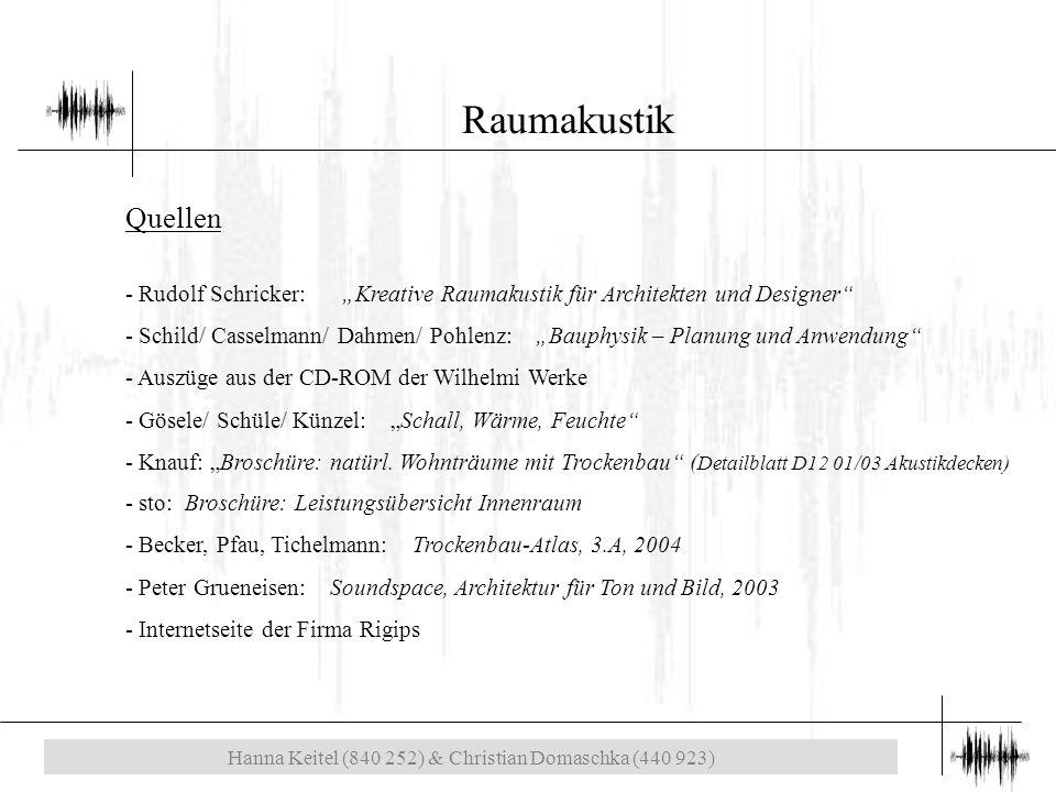 """Hanna Keitel (840 252) & Christian Domaschka (440 923) Raumakustik Quellen - Rudolf Schricker: """"Kreative Raumakustik für Architekten und Designer - Schild/ Casselmann/ Dahmen/ Pohlenz: """"Bauphysik – Planung und Anwendung - Auszüge aus der CD-ROM der Wilhelmi Werke - Gösele/ Schüle/ Künzel: """"Schall, Wärme, Feuchte - Knauf: """"Broschüre: natürl."""