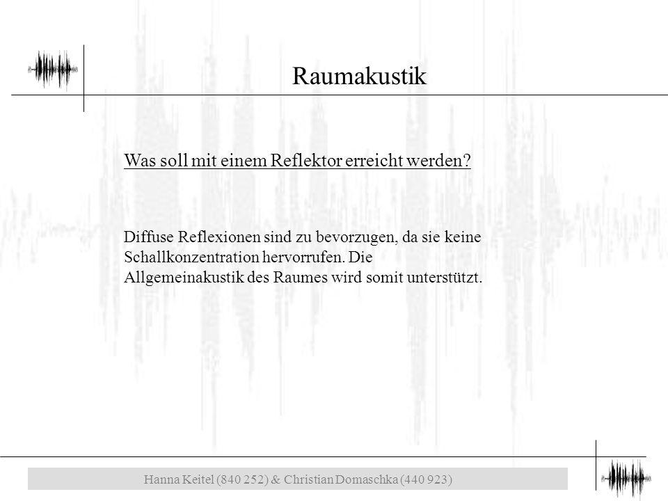 Hanna Keitel (840 252) & Christian Domaschka (440 923) Raumakustik Was soll mit einem Reflektor erreicht werden.