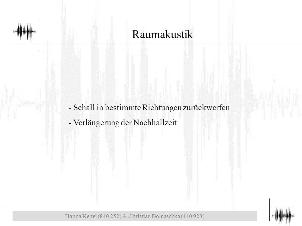Hanna Keitel (840 252) & Christian Domaschka (440 923) Raumakustik - Schall in bestimmte Richtungen zurückwerfen - Verlängerung der Nachhallzeit