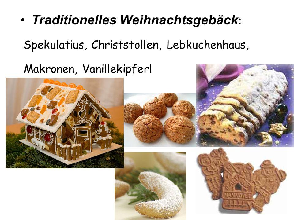 Traditionelles Weihnachtsgebäck : Spekulatius, Christstollen, Lebkuchenhaus, Makronen, Vanillekipferl