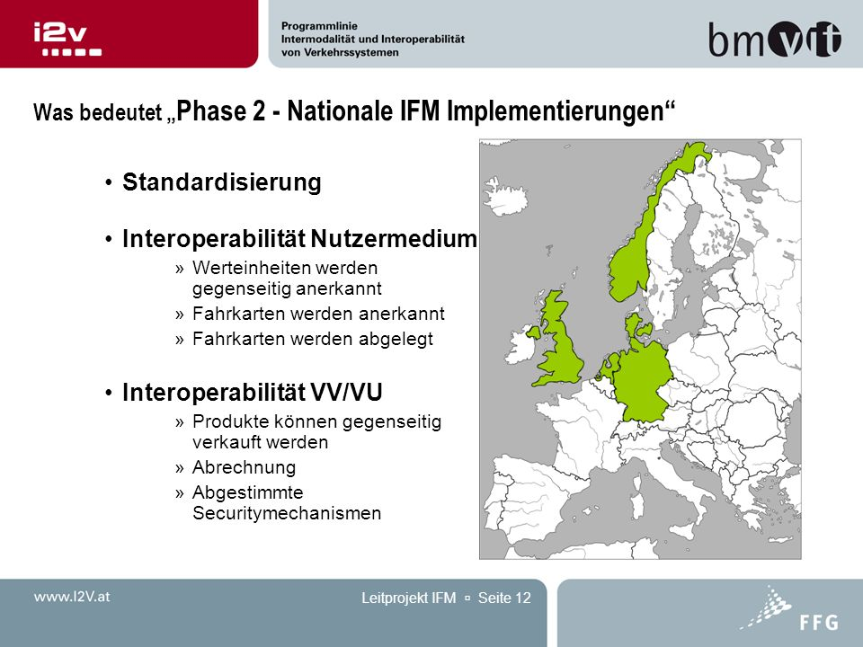 """Leitprojekt IFM  Seite 12 Was bedeutet """" Phase 2 - Nationale IFM Implementierungen"""" Standardisierung Interoperabilität Nutzermedium »Werteinheiten we"""