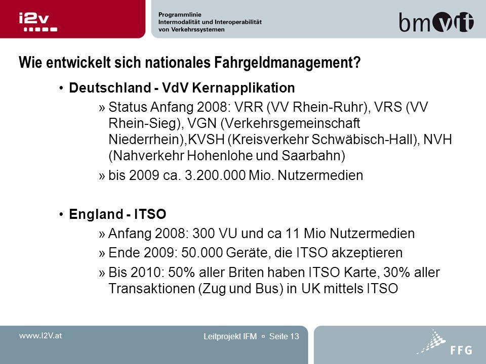 Leitprojekt IFM  Seite 13 Wie entwickelt sich nationales Fahrgeldmanagement? Deutschland - VdV Kernapplikation »Status Anfang 2008: VRR (VV Rhein-Ruh