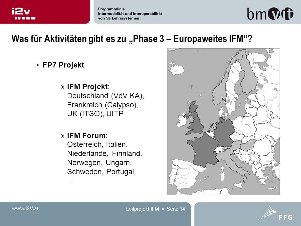 """Leitprojekt IFM  Seite 14 Was für Aktivitäten gibt es zu """"Phase 3 – Europaweites IFM ."""