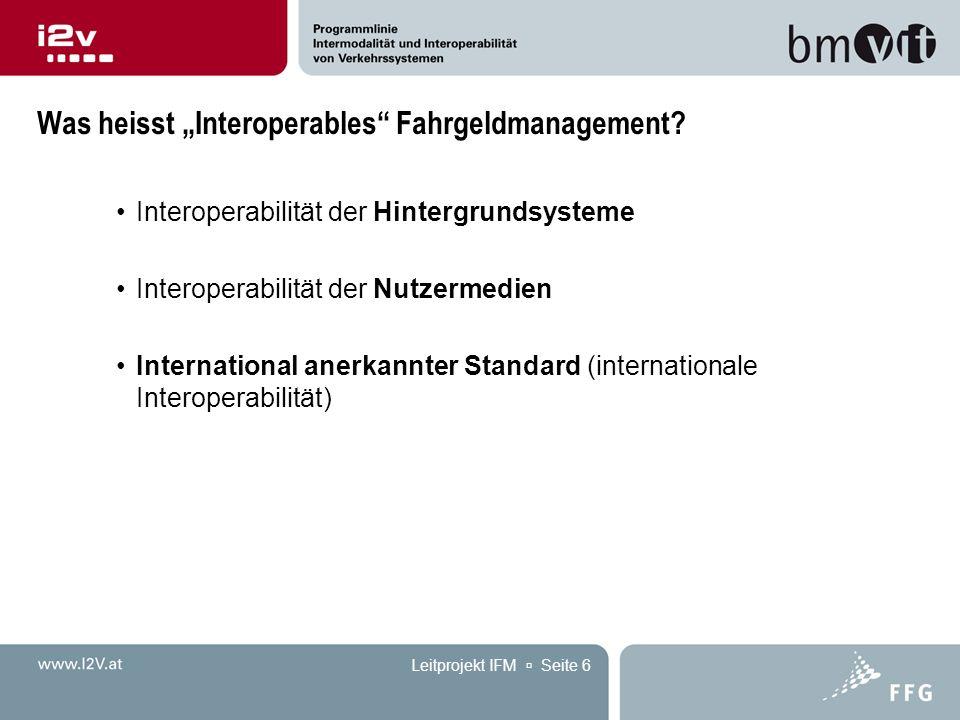 """Leitprojekt IFM  Seite 6 Was heisst """"Interoperables"""" Fahrgeldmanagement? Interoperabilität der Hintergrundsysteme Interoperabilität der Nutzermedien"""