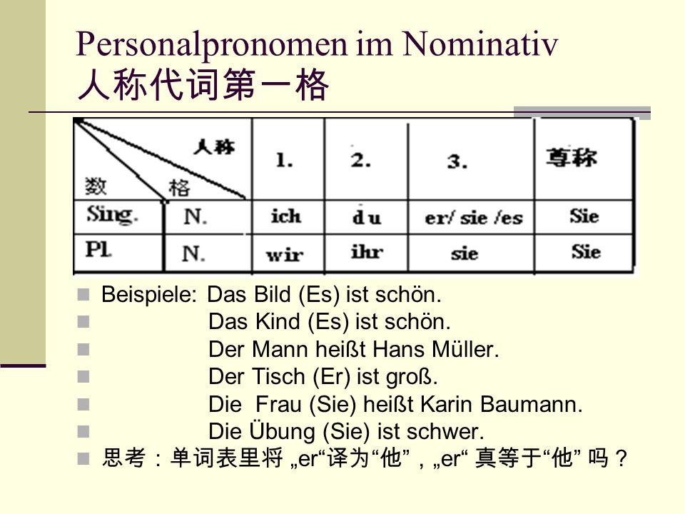 Personalpronomen im Nominativ 人称代词第一格 Beispiele: Das Bild (Es) ist schön.