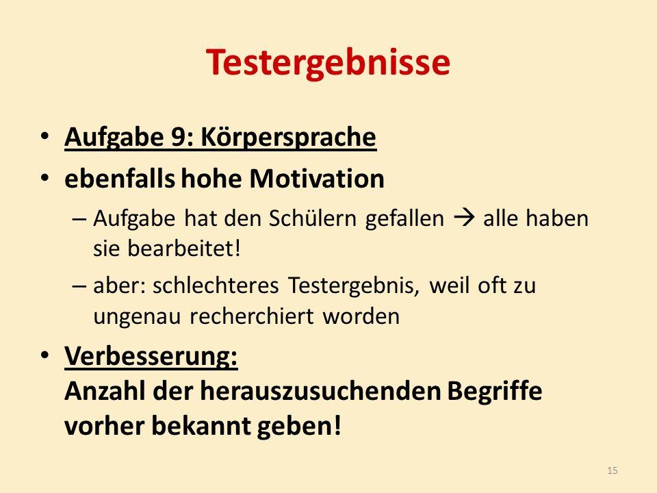 Testergebnisse Aufgabe 9: Körpersprache ebenfalls hohe Motivation – Aufgabe hat den Schülern gefallen  alle haben sie bearbeitet.