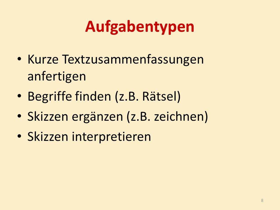 Aufgabentypen Kurze Textzusammenfassungen anfertigen Begriffe finden (z.B.