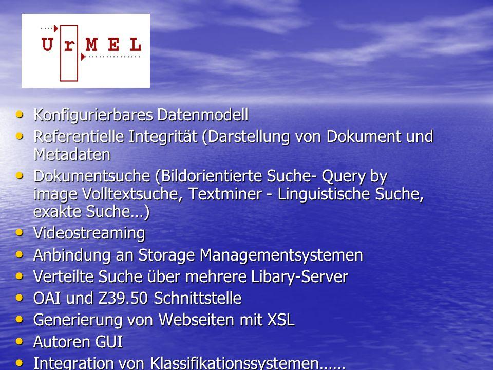 Konfigurierbares Datenmodell Konfigurierbares Datenmodell Referentielle Integrität (Darstellung von Dokument und Metadaten Referentielle Integrität (Darstellung von Dokument und Metadaten Dokumentsuche (Bildorientierte Suche- Query by image Volltextsuche, Textminer - Linguistische Suche, exakte Suche…) Dokumentsuche (Bildorientierte Suche- Query by image Volltextsuche, Textminer - Linguistische Suche, exakte Suche…) Videostreaming Videostreaming Anbindung an Storage Managementsystemen Anbindung an Storage Managementsystemen Verteilte Suche über mehrere Libary-Server Verteilte Suche über mehrere Libary-Server OAI und Z39.50 Schnittstelle OAI und Z39.50 Schnittstelle Generierung von Webseiten mit XSL Generierung von Webseiten mit XSL Autoren GUI Autoren GUI Integration von Klassifikationssystemen…… Integration von Klassifikationssystemen……