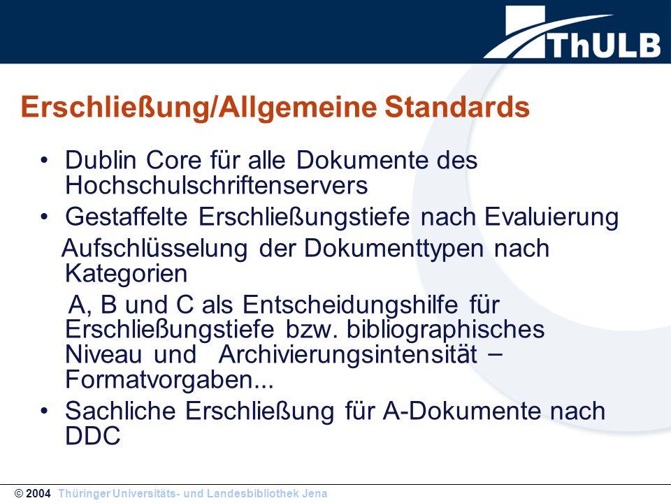 Erschließung/Allgemeine Standards Dublin Core für alle Dokumente des Hochschulschriftenservers Gestaffelte Erschließungstiefe nach Evaluierung Aufschl