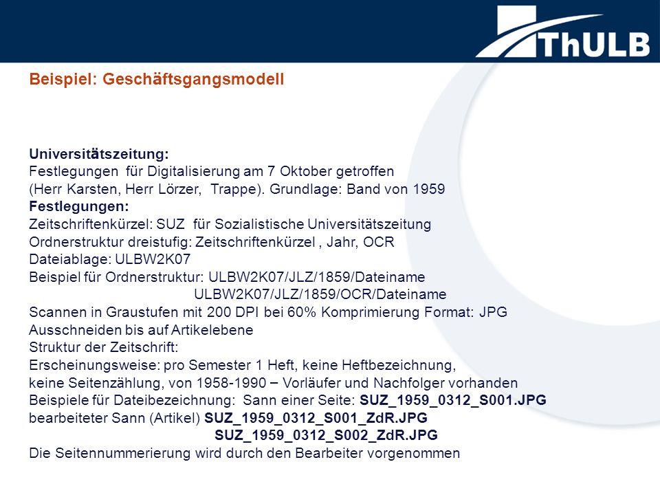 Universit ä tszeitung: Festlegungen f ü r Digitalisierung am 7 Oktober getroffen (Herr Karsten, Herr L ö rzer, Trappe). Grundlage: Band von 1959 Festl