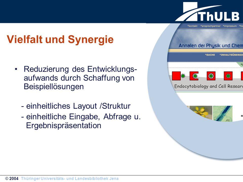 Vielfalt und Synergie Reduzierung des Entwicklungs- aufwands durch Schaffung von Beispiellösungen - einheitliches Layout /Struktur - einheitliche Eing