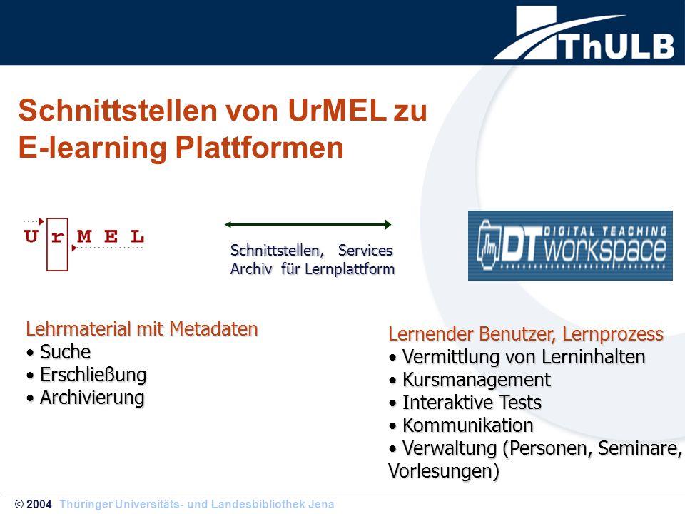 Schnittstellen von UrMEL zu E-learning Plattformen Lehrmaterial mit Metadaten Suche Suche Erschließung Erschließung Archivierung Archivierung Lernende