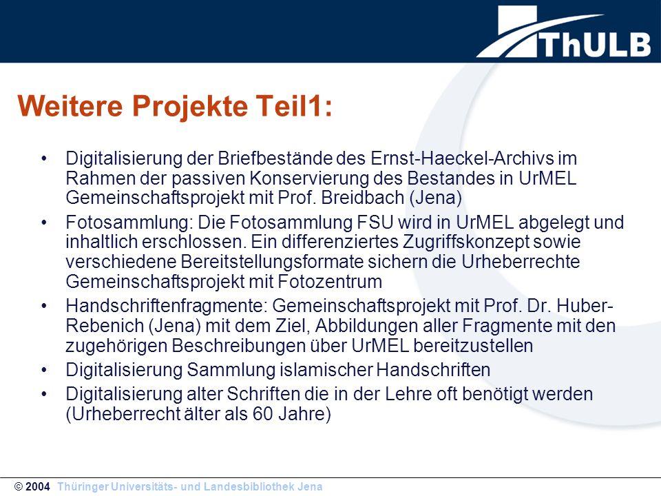 Weitere Projekte Teil1: Digitalisierung der Briefbestände des Ernst-Haeckel-Archivs im Rahmen der passiven Konservierung des Bestandes in UrMEL Gemein