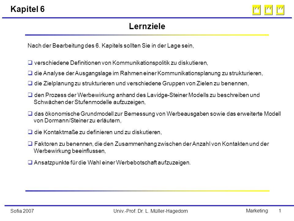 Univ.-Prof. Dr. L. Müller-HagedornSofia 2007Marketing 1 Kapitel 6 Nach der Bearbeitung des 6.