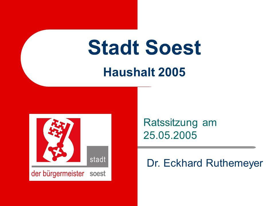 Stadt Soest - Haushalt 2005 - Mai 2005 Ziele des Rates und der Verwaltung Wir haben das Ziel, den strukturellen Fehlbetrag in Höhe von 12 Millionen Euro bis 2009 auszugleichen.