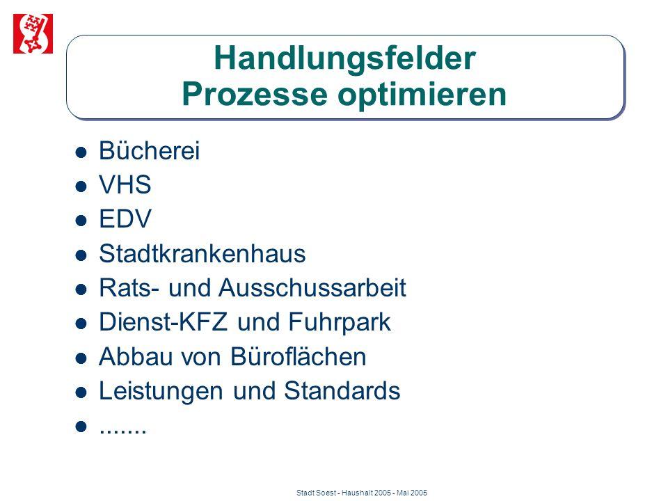 Stadt Soest - Haushalt 2005 - Mai 2005 Handlungsfelder Prozesse optimieren Bücherei VHS EDV Stadtkrankenhaus Rats- und Ausschussarbeit Dienst-KFZ und
