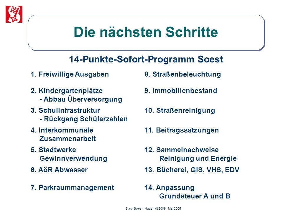 Stadt Soest - Haushalt 2005 - Mai 2005 Die nächsten Schritte 14-Punkte-Sofort-Programm Soest 1. Freiwillige Ausgaben8. Straßenbeleuchtung 2. Kindergar