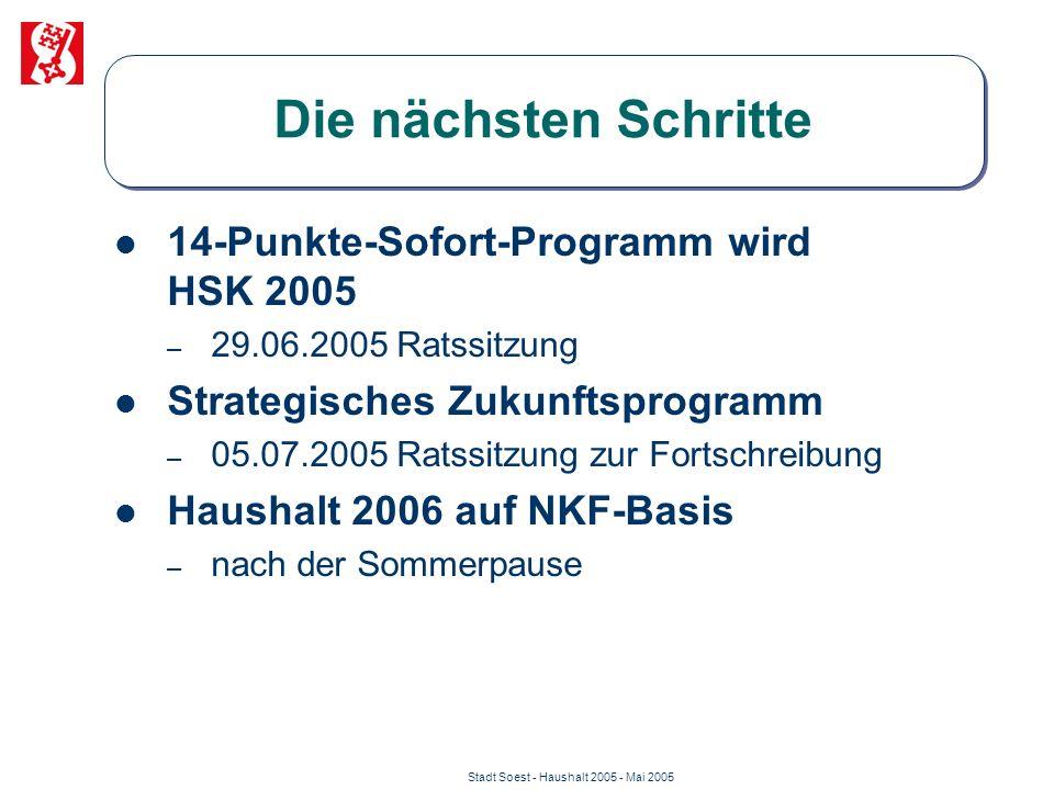 Stadt Soest - Haushalt 2005 - Mai 2005 Die nächsten Schritte 14-Punkte-Sofort-Programm wird HSK 2005 – 29.06.2005 Ratssitzung Strategisches Zukunftspr