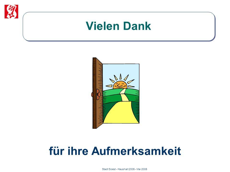 Stadt Soest - Haushalt 2005 - Mai 2005 Vielen Dank für ihre Aufmerksamkeit