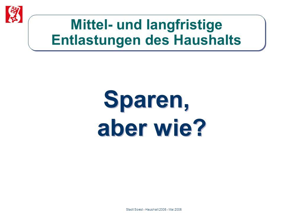 Stadt Soest - Haushalt 2005 - Mai 2005 Mittel- und langfristige Entlastungen des Haushalts Sparen, aber wie?