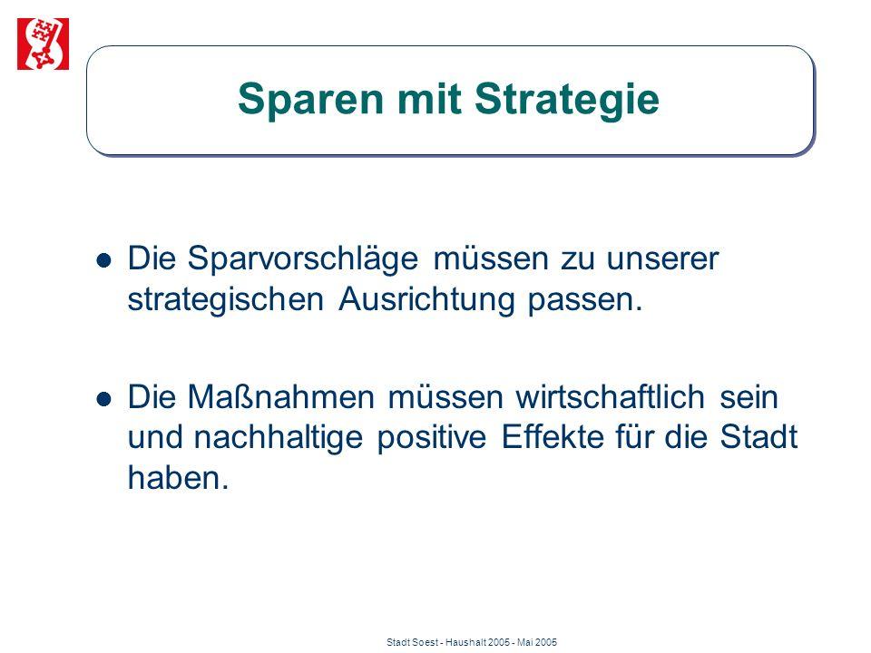 Stadt Soest - Haushalt 2005 - Mai 2005 Sparen mit Strategie Die Sparvorschläge müssen zu unserer strategischen Ausrichtung passen. Die Maßnahmen müsse