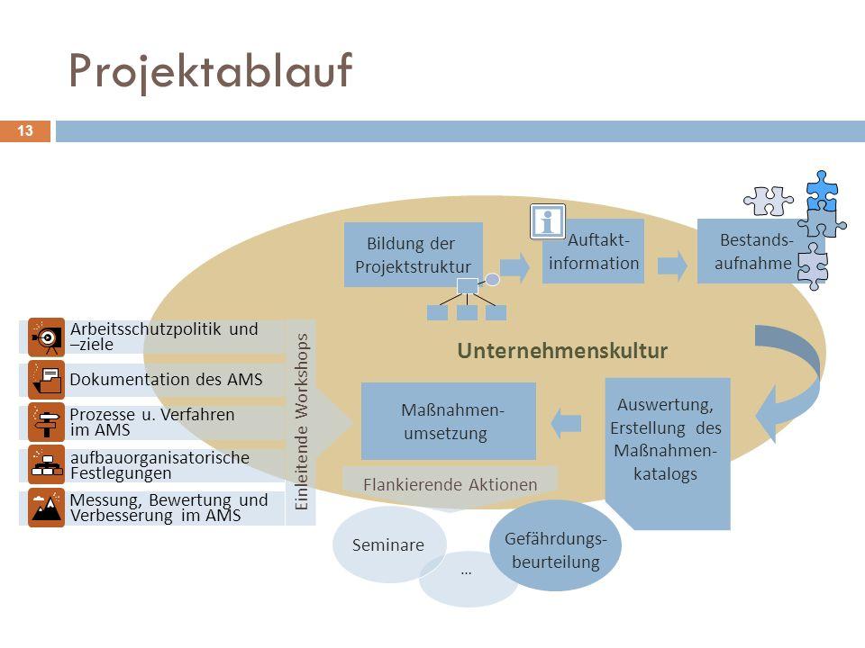 Projektablauf 13 Unternehmenskultur Auswertung, Erstellung des Maßnahmen- katalogs Bildung der Projektstruktur Bestands- aufnahme … Maßnahmen- umsetzu