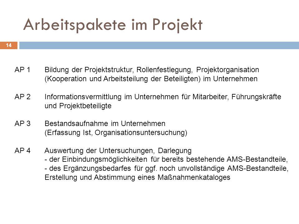 Arbeitspakete im Projekt 14 AP 1Bildung der Projektstruktur, Rollenfestlegung, Projektorganisation (Kooperation und Arbeitsteilung der Beteiligten) im