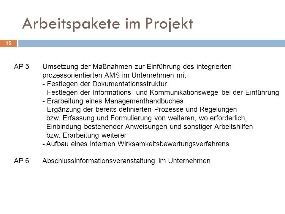 Arbeitspakete im Projekt 15 AP 5Umsetzung der Maßnahmen zur Einführung des integrierten prozessorientierten AMS im Unternehmen mit - Festlegen der Dokumentationsstruktur - Festlegen der Informations- und Kommunikationswege bei der Einführung - Erarbeitung eines Managementhandbuches - Ergänzung der bereits definierten Prozesse und Regelungen bzw.