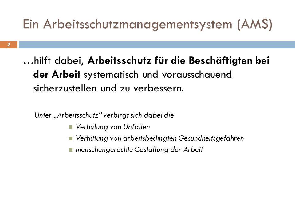 Ein Arbeitsschutzmanagementsystem (AMS) 2 …hilft dabei, Arbeitsschutz für die Beschäftigten bei der Arbeit systematisch und vorausschauend sicherzuste