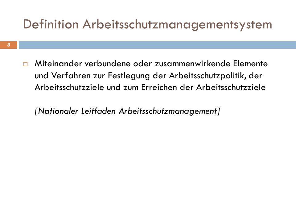 Definition Arbeitsschutzmanagementsystem 3  Miteinander verbundene oder zusammenwirkende Elemente und Verfahren zur Festlegung der Arbeitsschutzpolit