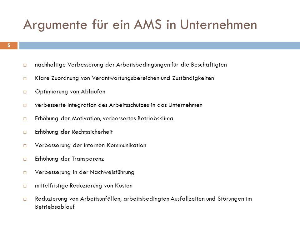 Argumente für ein AMS in Unternehmen 5  nachhaltige Verbesserung der Arbeitsbedingungen für die Beschäftigten  Klare Zuordnung von Verantwortungsber